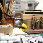 石塑粘土で人形作り。